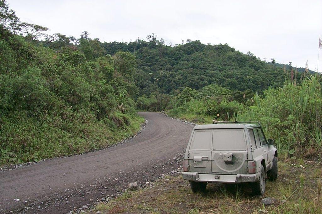Nissan Patrol Y-60 Road to waterfall San Rafael highest in Ecuador, near volcano Reventador.