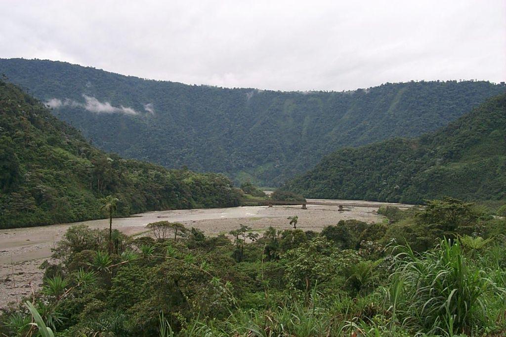 Road to waterfall San Rafael highest in Ecuador, height 160 m, near volcano Reventador