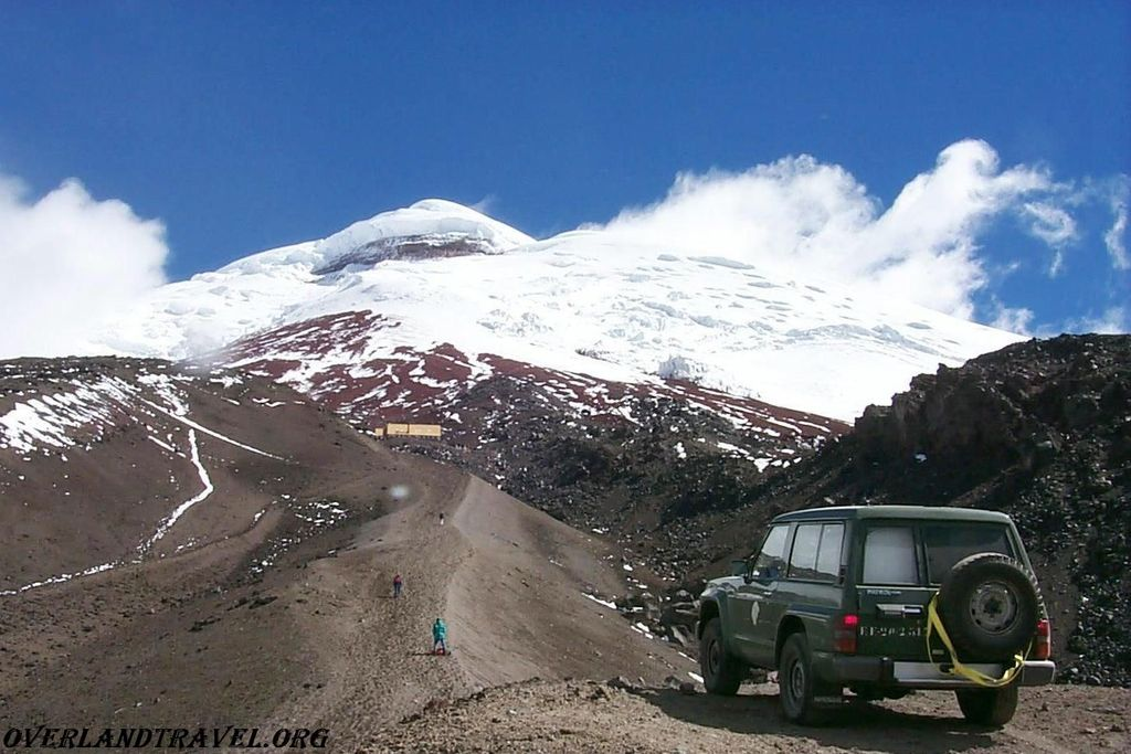 Cotopaxi volcano Andes Mountains, Latacunga, Ecuador,  South America. Overland travel, Nissan Patrol 4x4.