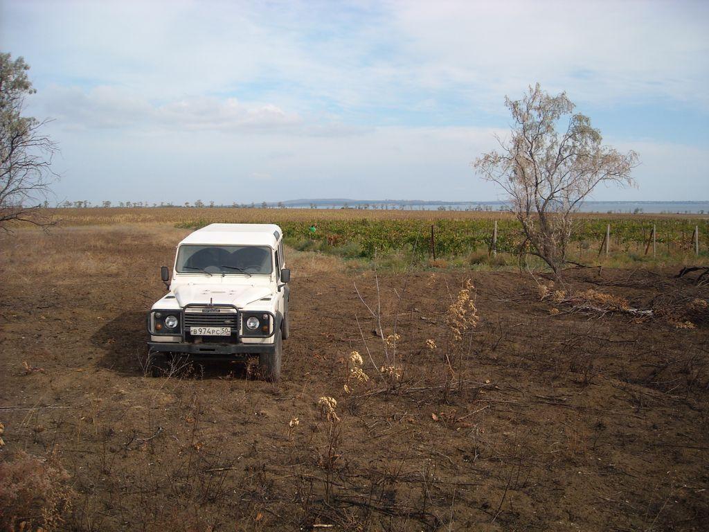 Таманский полуостров, виноградники, Land Rover Defender 110.