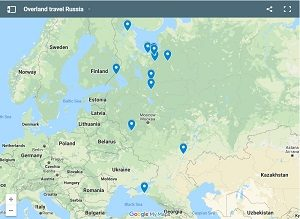 Map overland travel russia