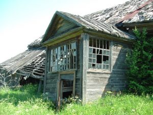Abandoned village Kostroma region Russia overland travel