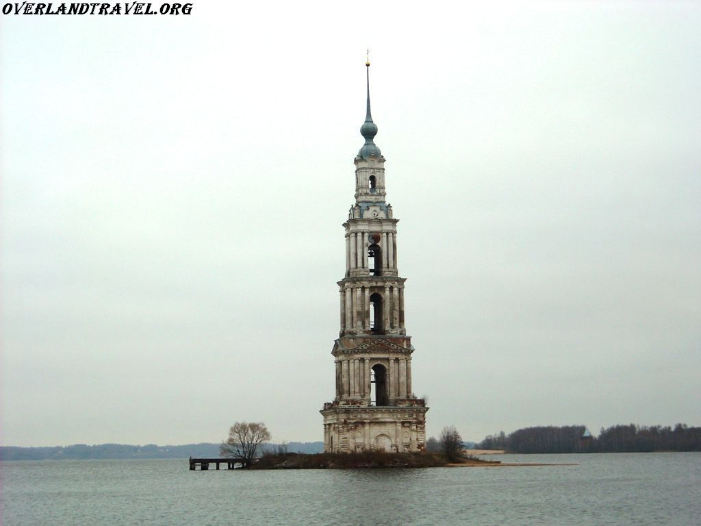 Russia, Kalyazin Bell Tower is a Neoclassical campanile rising to a height of 74.5 metres over the waters of the Uglich Reservoir on the Volga River opposite the old town of Kalyazin, in Tver Oblast.