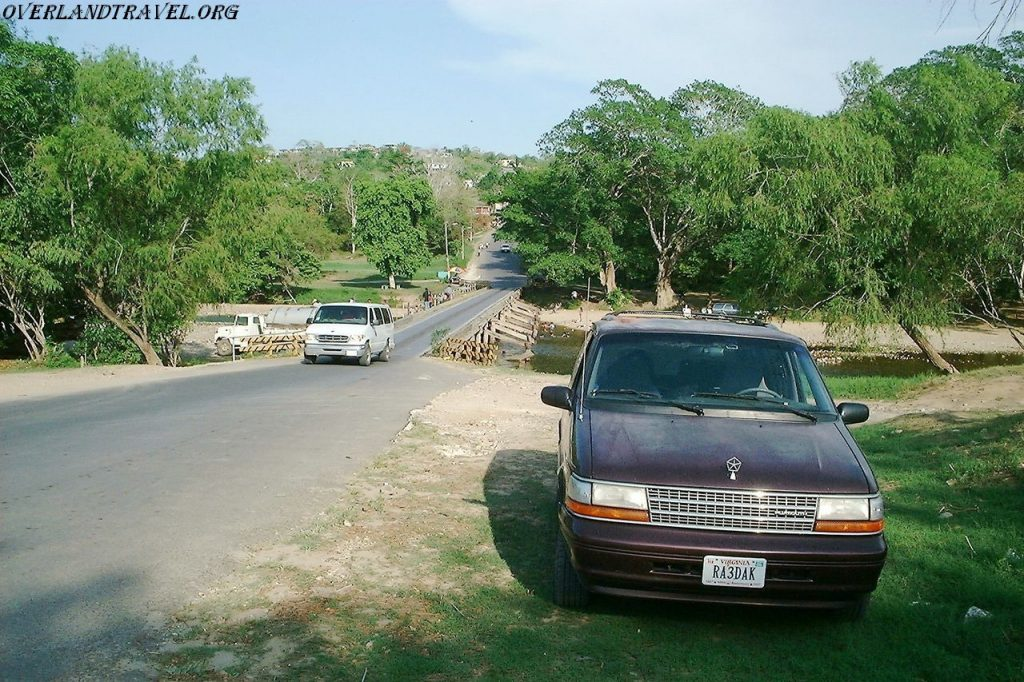 Overland travel Belize, the bridge over the Macal River.